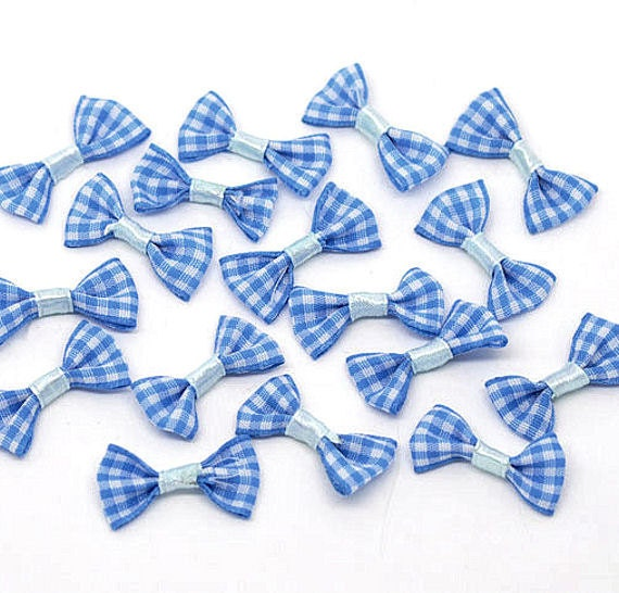 10 Bows Blue Check Gingham Ribbon Mini Size - So Cute and Versatile - Z35