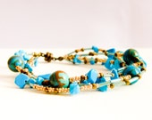 Turquoise jewelry multi strand bracelet. Blue brown gold bronze - earthy toned Summertime