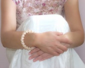 Wedding jewelry Pearl white golden peach bangle bracelet  bead woven rope Cellini spiral. Bridal jewelry