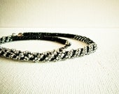 Night. Silver black Choker necklace Beadwork Statement Asymmetric Necklace. Modern seed bead  jewelry. Rope necklace