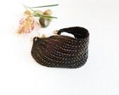 Nocturne Black beadwork Cuff / Bracelet. Modern seed bead fashion jewelry. Statement  bracelet