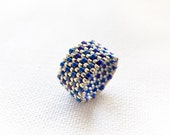 Navy blue silver textured band ring.Two tone ring. Summer seed bead nautical jewelry.