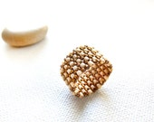 Textured band ring Golden cream Rustic wedding custom jewelry Seed beads peyote jewelry.