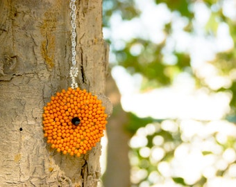 Minimalist Pumpkin Disk  Necklace Seed bead small round pendant