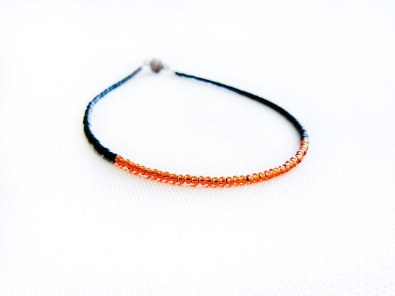 Africa ankle bracelet Orange black  thin seed beads anklet  minimalist color blocking  Sexy foot jewelry