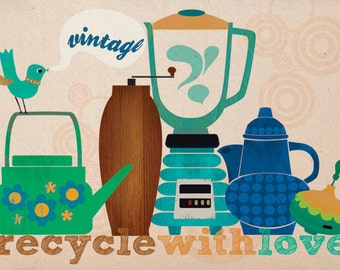 CHRISTMAS SALE - Recycle with love-art print limited edition