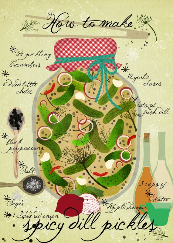 How to make Spicy Pickles - Art Print - illustrated Recipe