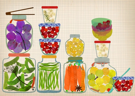 Bottled Pickles and Fruits - Art Print Limited Edition Print