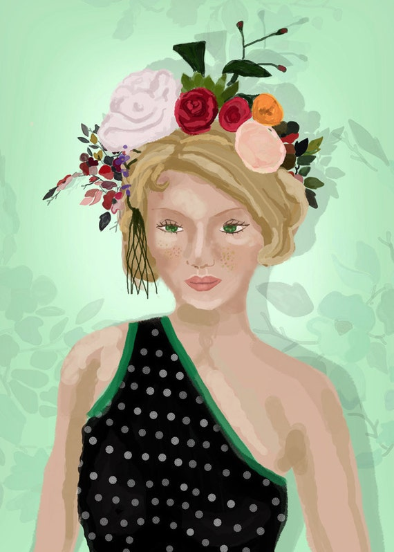Girl with Flower Hat-Art Print