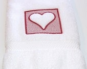 Embroidery Hand Towel, Embossed Heart in Red