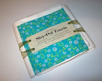 Daisy Whimsy in Aqua - Stay-Put Kitchen Towels