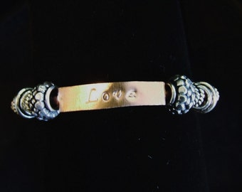 Copper Hand Stamped Rustic Charm Love Bangle Bracelet