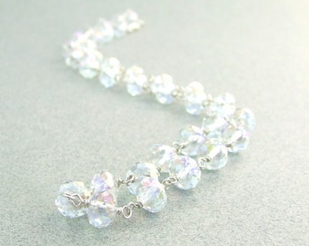 Wedding Crystal Necklace in Sterling Silver Handmade Bridal