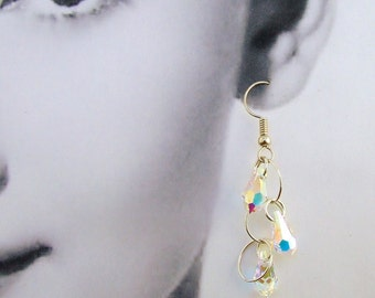 Bridal Swarovski Crystal Tear Drop Earrings Sterling Silver Circles Handmade Wedding