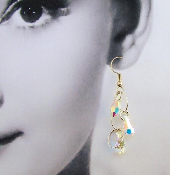 Bridal Swarovski Crystal Tear Drop Earrings Sterling Silver Circles Handmade Wedding