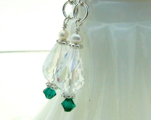 Quartz Teardrop and Sterling Silver Earrings with Emerald Green Swarovski Crystal