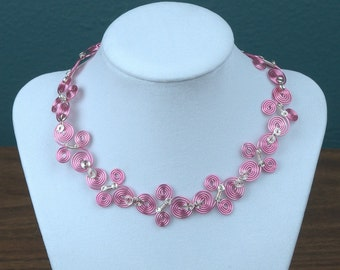 Pink and Silver Spiral Wire Collar Necklace