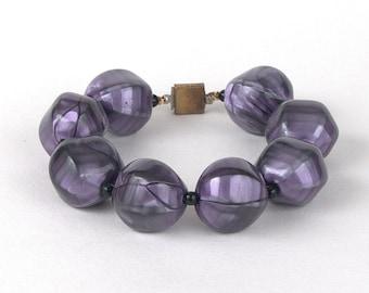 Vintage Funky Chunky Purple Bead Bracelet