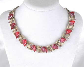 Vintage Star Signed Red Molded Leaf Lucite and Rhinestone Necklace