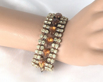 Huge Vintage Pale Yellow and Amber Rhinestone Bracelet