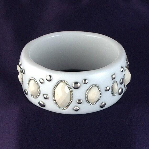 Vintage Studded White Bangle Bracelet