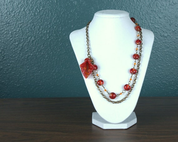 Asymmetrical Orange and Red Flower Necklace with Antiqued Brass Chain