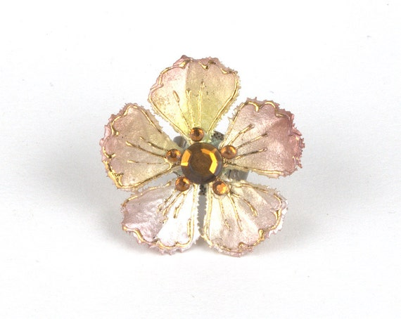 Champagne and Gold Flower Ring with Crystal Accents