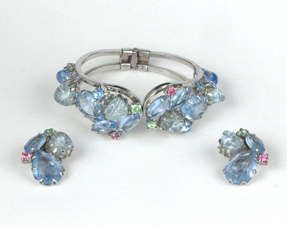 Reserved- DeLizza & Elster Juliana Silver Plated Light Blue Rhinestone Earrings ONLY