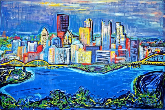 Pittsburgh Skyline Drawing Pittsburgh Skyline Painting
