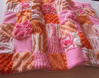 So cute vintage chenille baby quilt, newborn, lovey, pet bed, or doll quilt, candy pinks, peach, orange 20 x 25