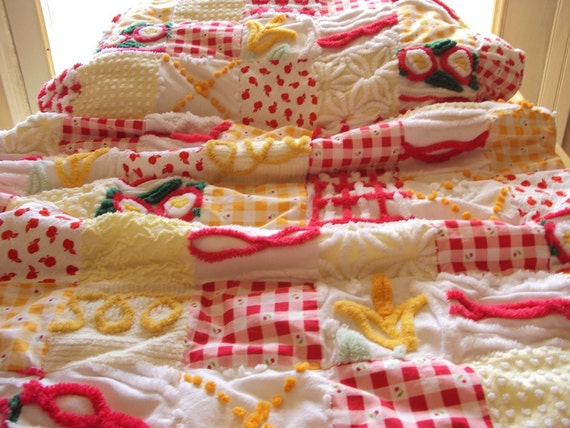 Sweet Country Cottage red and yellow chenille and fabric quilt, small throw, baby 36 x 55
