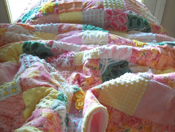 Vintage chenille quilt, with minkee and new fabric Victorian Rose Garden, throw 46 x 67