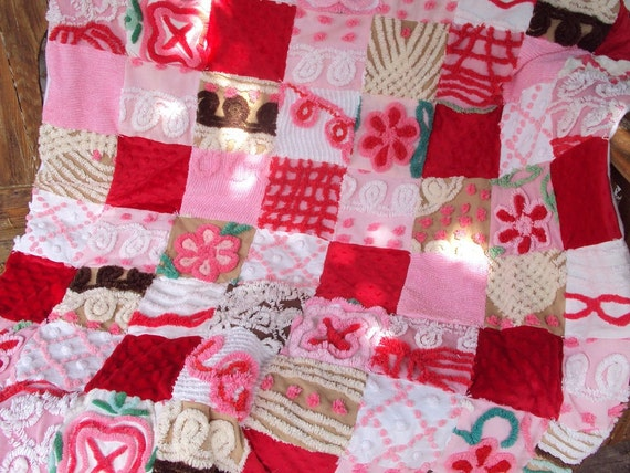 Sweet Vintage chenille quilt, Birthday Cake, Chocolate, red, pink, throw size with red minkee dimple dot