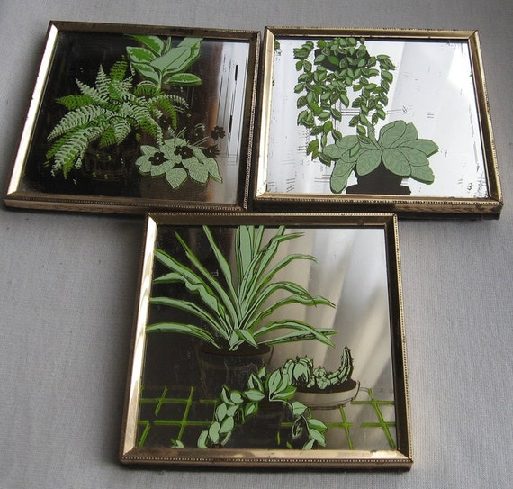 Wall Sconces For Greenery : Vintage Houseplant Greenery Mirror Wall Decor