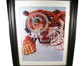 Are You a Tiger at Work... Bengal Tiger Fashioned from Computer Parts. Incredible Signed Photo Print.