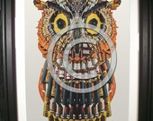 Framed Print of our Wise Owl. Original sculpture for print used in early computer ads of the 1960s.