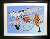 Airplane Fashioned from Computer Parts. Signed Photo Print.