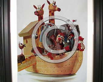 Kid's Room - Noah's Ark Fashioned from Computer Parts. Signed Print of Vintage Ad Art. (H)