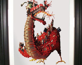 Fire-Spewing Dragon Fashioned from Computer Parts. Signed Print of Vintage Ad Art.