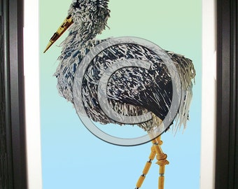 Stork Fashioned from Computer Parts. Signed Photo Print. (H)