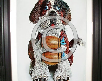 Rescue St. Bernard Fashioned from Computer Parts. Signed Photo Print.