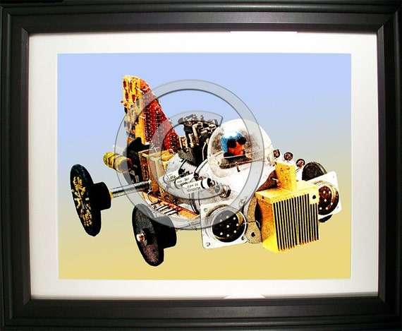 Racecar Fashioned from Computer Parts. Signed Photo Print.