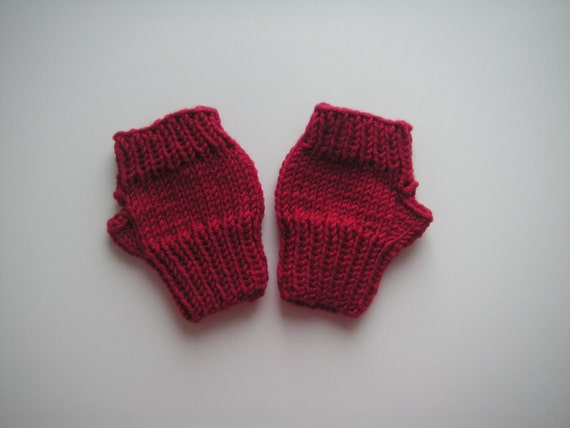 Fingerless mittens for toddler, knitted in beautiful red baby cashmerino yarn