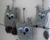 Custom Order for MaryCristen- 6 Gray Mini Owl Ornaments