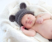 Newborn crocheted Brown teddy bear beanie hat size Nb-2T You Pick Size