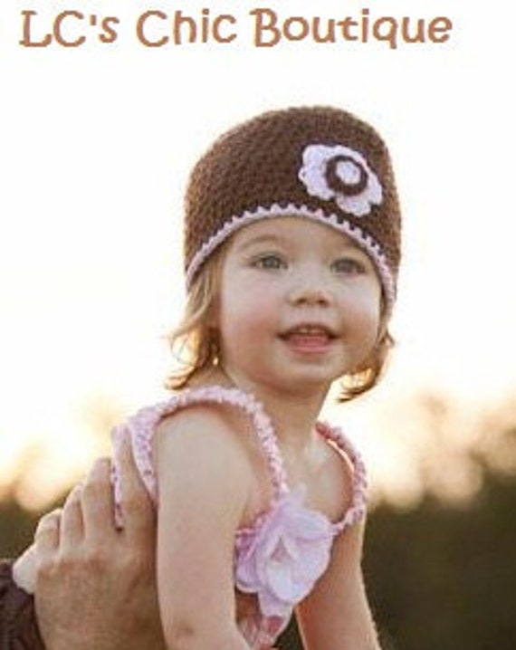 Toddler Baby Girl Flapper Pink and Brown Flower Hat beanie for Spring