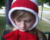 The Cat in the Pixie Hat: Knit Bowtie Hat Cat in the Hat Hat Cat in the Hat Costume Winter Accessories Gift Idea Geek Gift Dr. Suess Hat