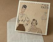 4x4 Notecard-  Vintage Sewing Patern