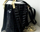 VINTAGE Black Suede and LEATHER Bag
