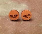 Laser Engraved Wood Flower Stud Earrings (Design A)
